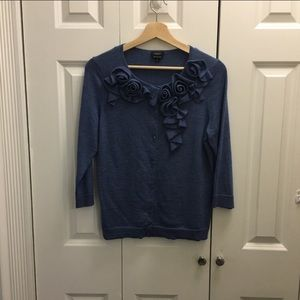 TALBOTS women's blue sweater with 3D floral,size M